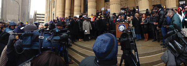 Speakers for justice on steps of Buffalo City Hall right now