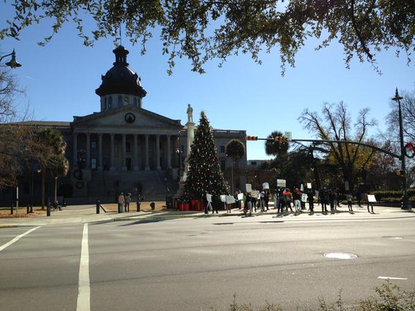 The scene outside South Carolina's Statehouse in Columbia, SC