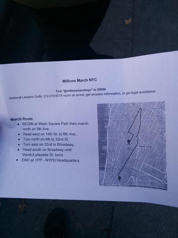 MillionsMarchNYC flyer route being handed out