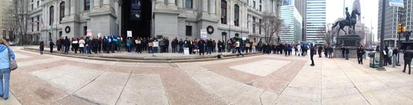 Panoramic from city hall of Philadelphia where about 200 protesters are demonstrating for ICantBreathe