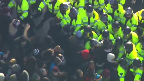 Multiple protesters have been taken into custody outside Nashua Street Jail in Boston, MA