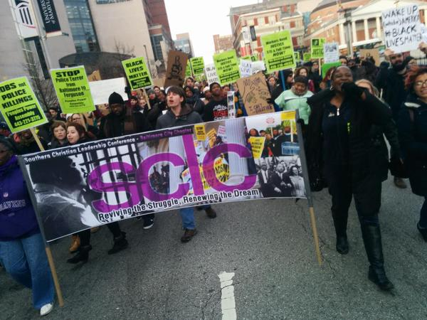 Marching in Baltimore. Indict convict send the crooked cops to jail the whole damn system is guilty as hell