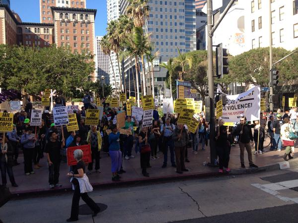 Crowd gathering in LA to march against the epidemic of racist police violence