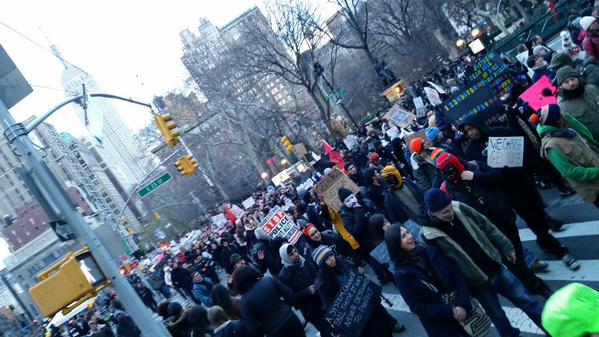 Coming down Broadway. MillionsMarchNYC going strong hours after starting
