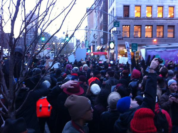 Sea of people at Broadway and E 17. The whole damn system is guilty as hell MillionsMarchNYC
