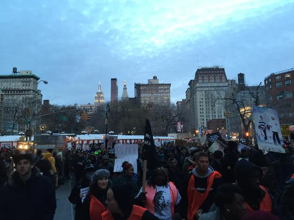 Turning at Union Square heading down Broadway MillionsMarchNYC