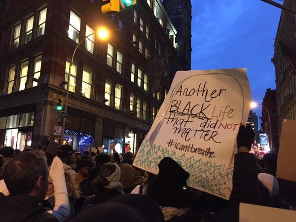 EricGarner march continues into the evening on Broadway