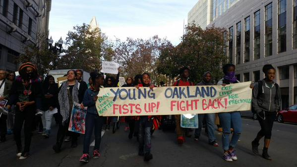 Black Student Union-led march arrives at 14th and Broadway from Berkeley. Oakland