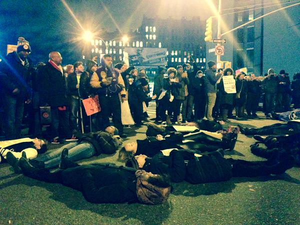 DieIn at E. Houston and broadway, helicopters overhead NYCprotest