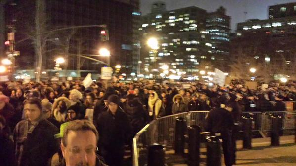 People streaming into Foley Square leading up into One Police Plaza. MillionsMarchNYC