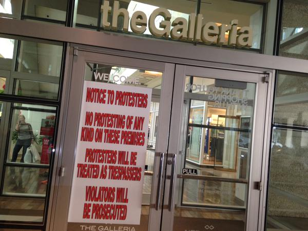 Signs posted outside Galleria say any protesters will be treated as trespassers and will be prosecuted Houston, TX