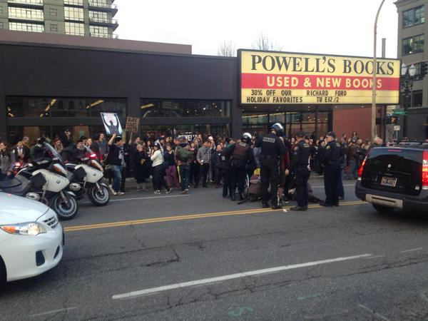 Still gathered outside Powells waiting for the ambulance. Portland