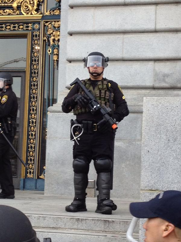SF Sheriffs Dept meets large totally peaceful crowd in full riot gear incitement
