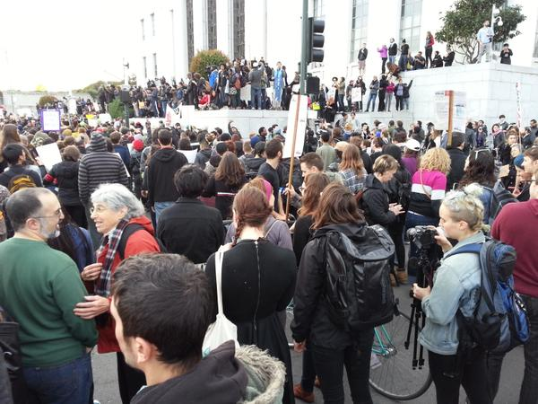 Huge crowd at the courthouse in Oakland CA