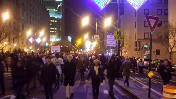 After going around NYPD kettle, protesters take street of Adams. MillionsMarchNYC