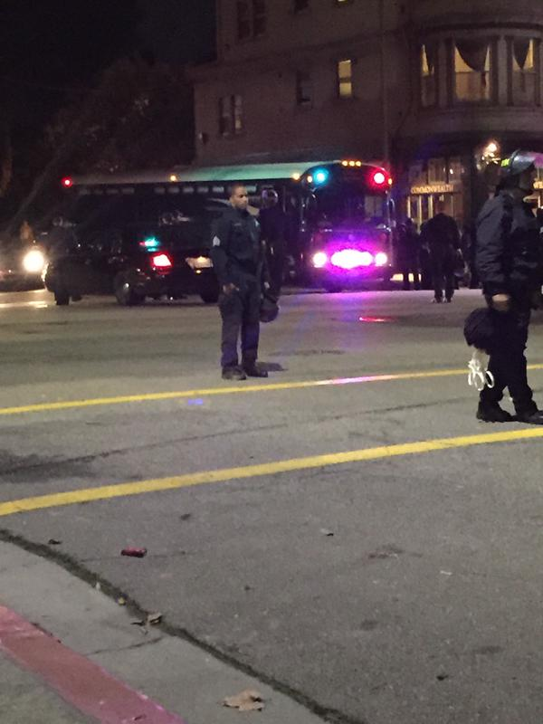 Paddy wagon gearing up. Woman in apt: why are they being arrested? It's not illegal to protest oaklandprotest