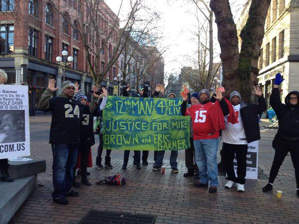 The 12th man in Seattle is protesting pregame for BlackLivesMatter