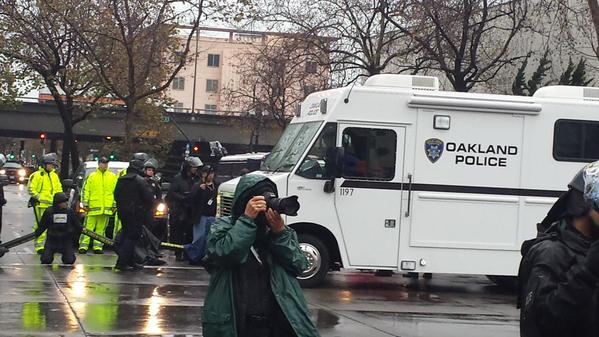 Tactical Vehicle used to block the cutting of the chains in Oakland