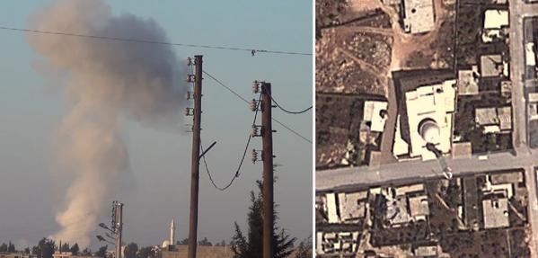 This barrelbomb stroke close to Bayanoun's white mosque