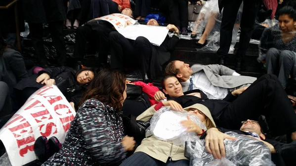 LosAngeles attorneys die-in at Mosk courthouse