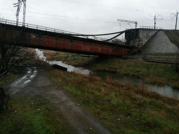 Blown-up bridge in Mariupol Mariupol