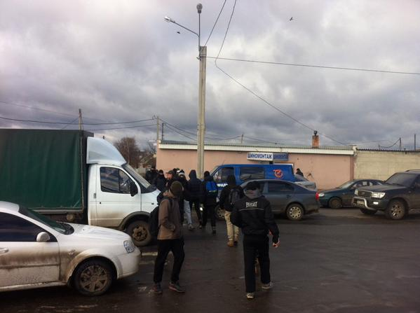 On the outskirts of Kharkiv activists block road