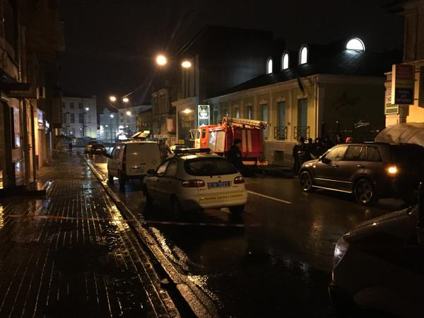 Firefighters on the scene of explosion in furniture shop in Kharkiv