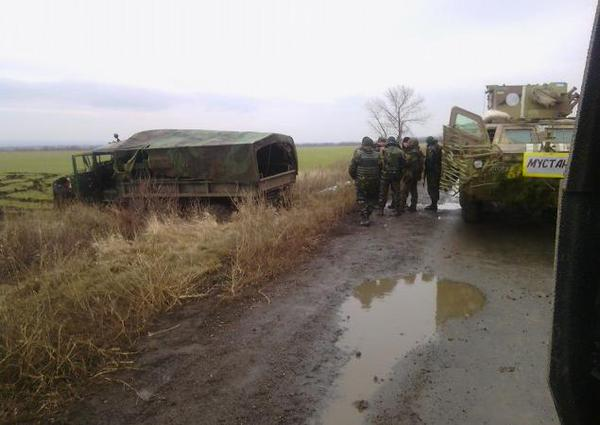 National Guard truck hit a mine of Russian-militants forces.