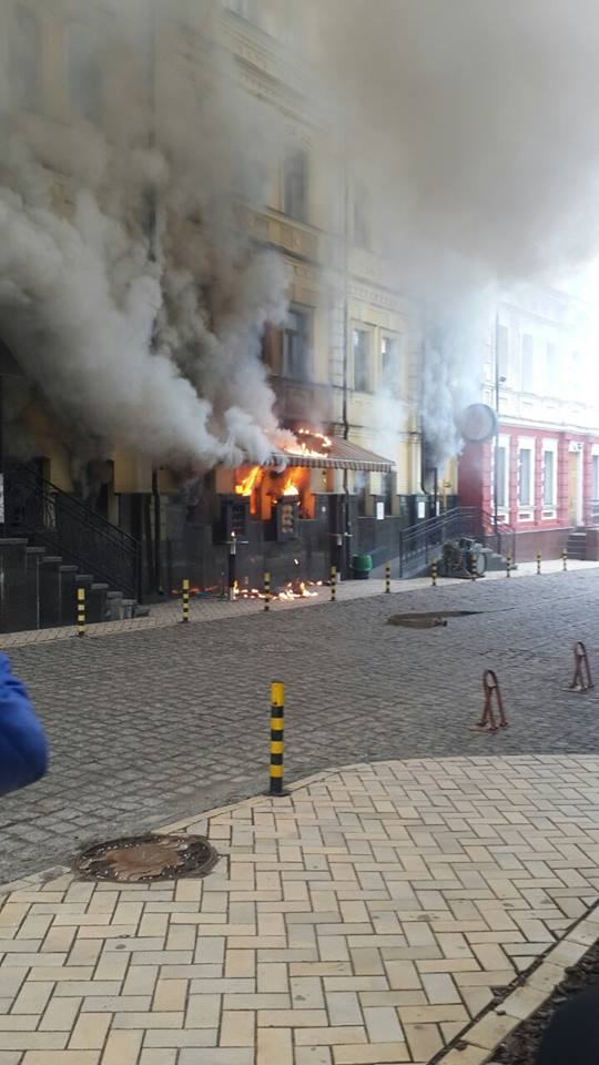 Restaurant GastroRock set on fire in Kyiv. The cause of the fire is still unknown.