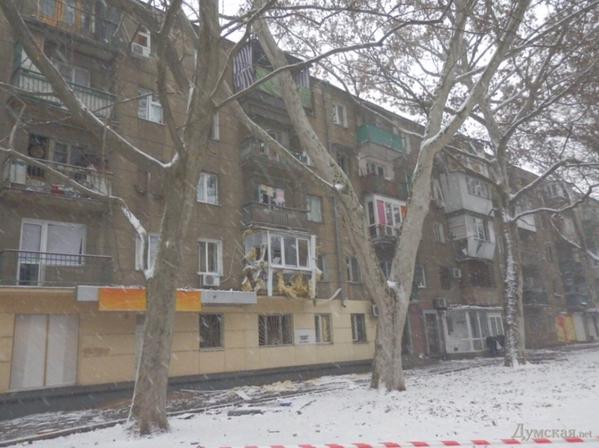 Windows & balconies damaged by blast in Odessa,