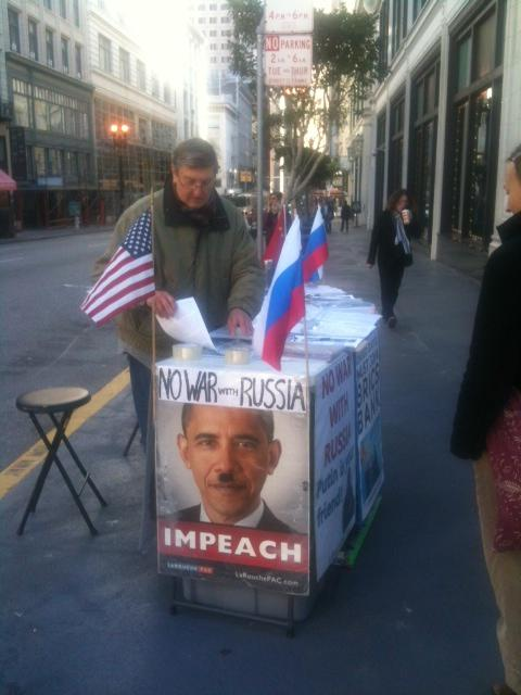 An anti-Obama pro-Putin stand on the Union Square in San Francisco.