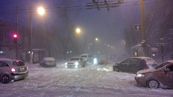 The route from Odessa closed due to heavy snowfall