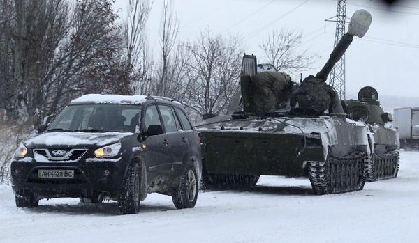Russian heavy armored column on its way toward Schastya