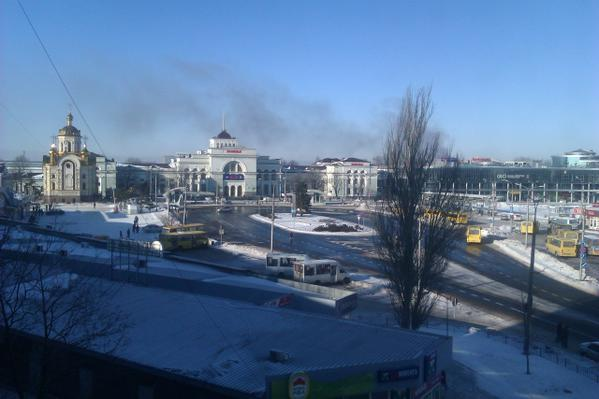 Smoke over Donetsk, about 1pm