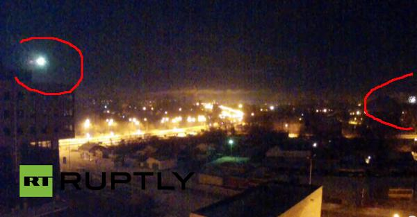 New Year flares and rifle gun shooting in Donetsk