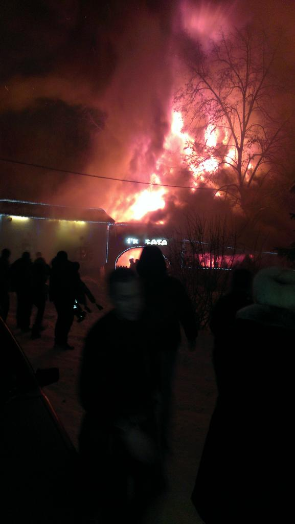 Cafe New Khata burns now in Kharkiv