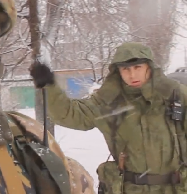 PicturesnAll kinds of little brown and green men walking through Graham's interview in Horlivka.