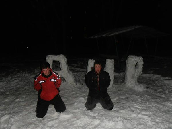 Two men in Dniprodzerzhinsk decided to make DNR snow sculpture