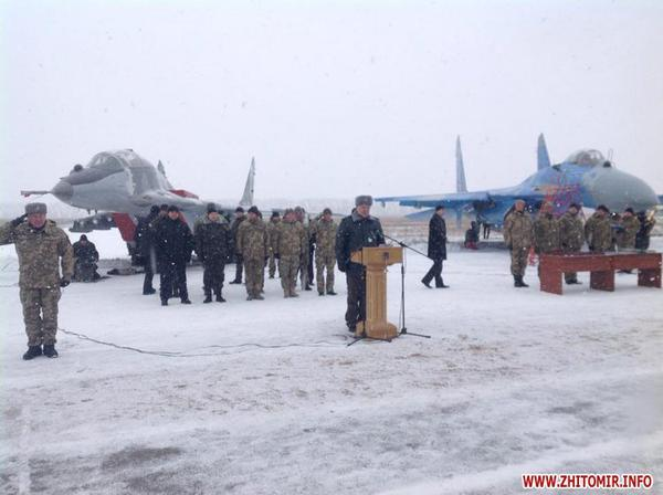 Poroshenko and Poltorak arrived at a military airfield near Zhitomir to transfer military equipment