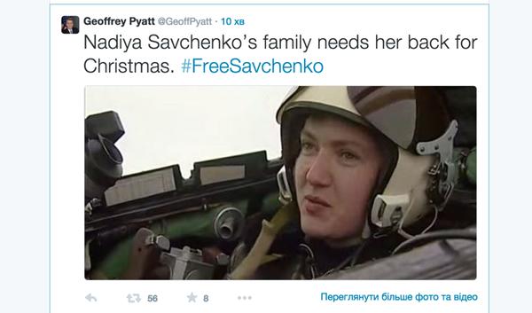 U.S. Ambassador in Ukraine @GeoffPyatt joined Twitter storm to support the release of Savchenko