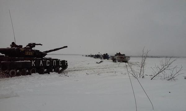 Convoy of Ukrainian tanks