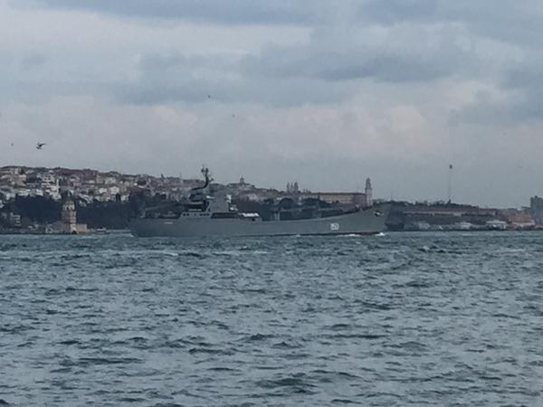 Project 1171 Russian Navy's Tapir/Alligator class landing ship Saratov 150 transits southbound Bosphorus