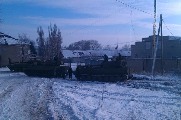 Russian self-propelled howitzers in Starobeshevo