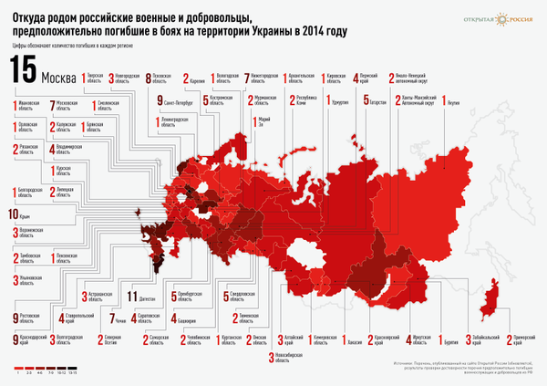 Infographic by @openrussia_org: Map of Russian regions where Russians hail from who were Killed in Action in Ukraine