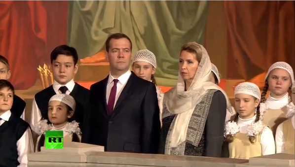 Medvedev, with his children