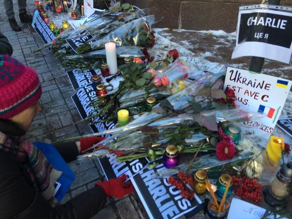 Ukrainian journalists in solidarity with CharlieHebdo JeSuisCharlie right now Kyiv