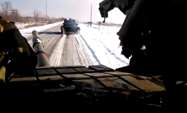Russian forces T-64 column on the move in occupied Donetsk