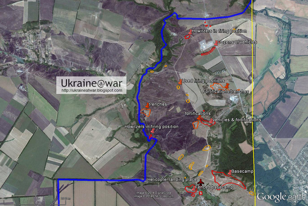 Geolocation of Russia|n camps on 2,5km from Ukraine