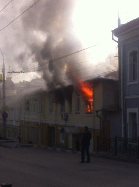 Fire in police station in downtown Yalta, occupied Crimea