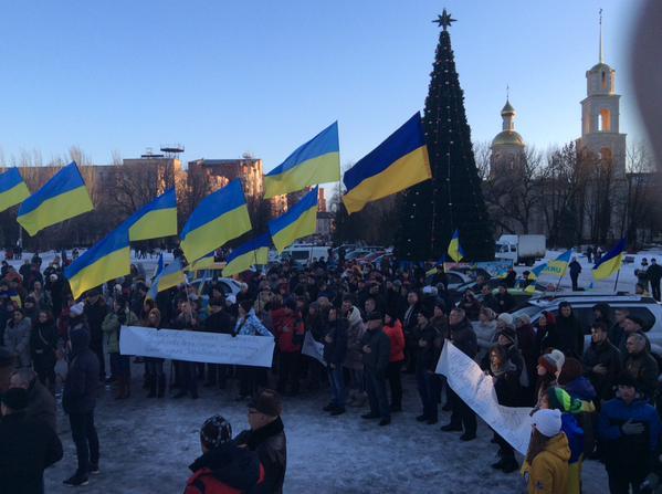 Rally for the dismantling of Lenin in Slavyansk